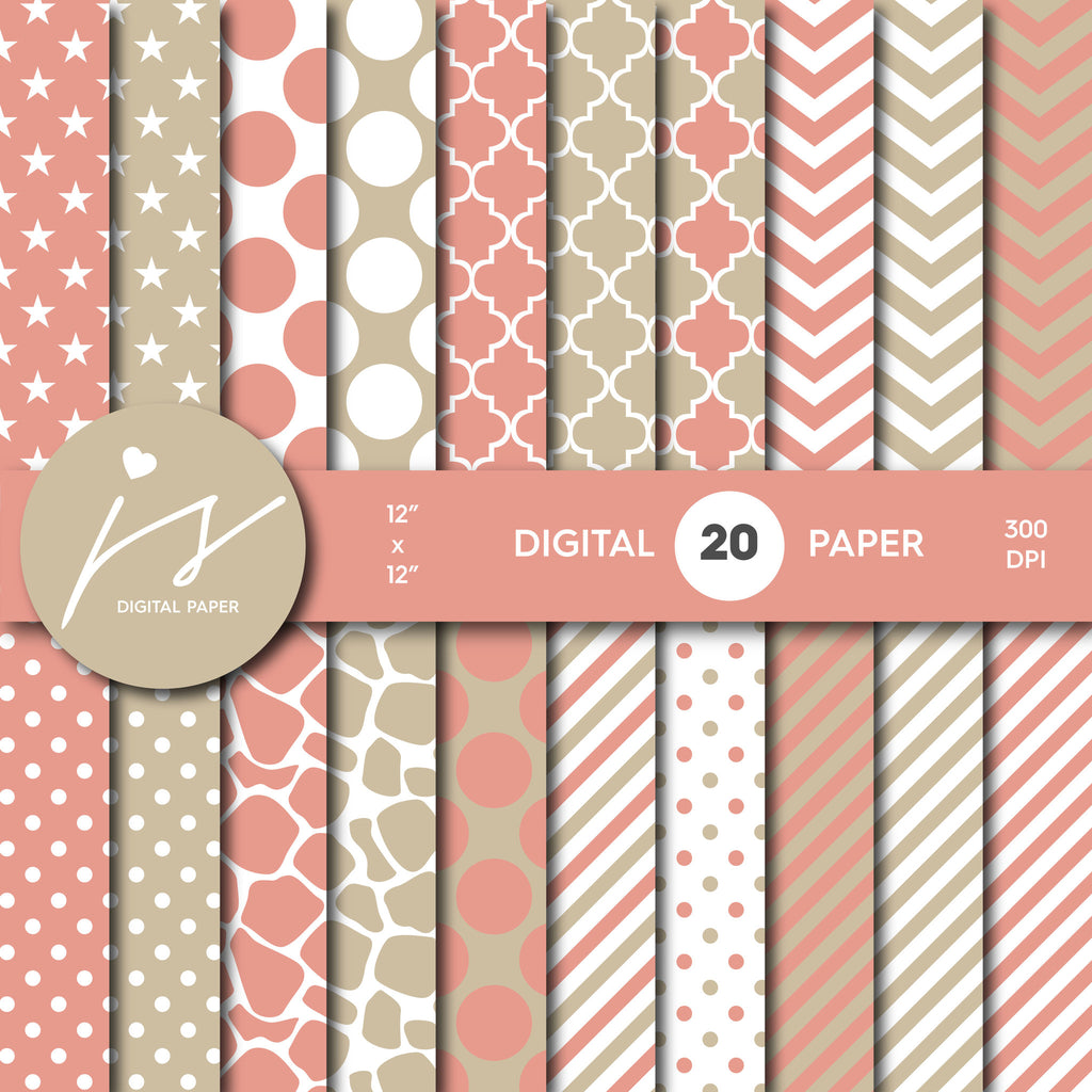 Peach and Beige Digital Paper, Peach Scrapbooking, with Polka Dots, Stripes, Chevron, Commercial Use, MI-342A