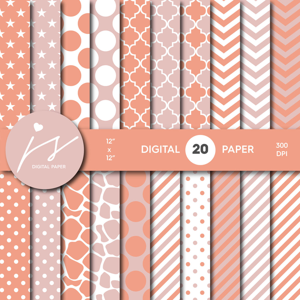 Pink Peach Digital Paper, Peach Scrapbooking, with Polka Dots, Stripes, Chevron, Commercial Use, MI-343A