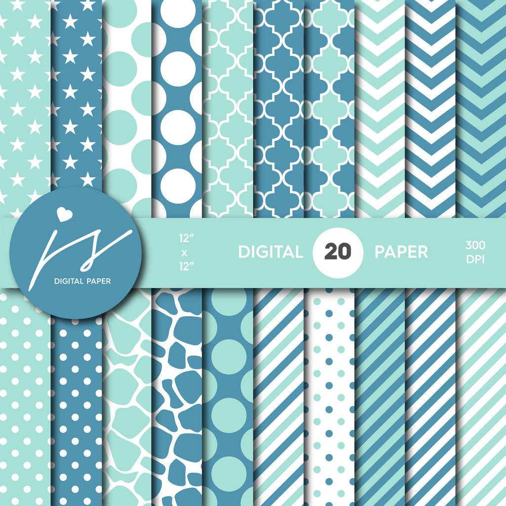 Turquoise and Blue Digital Paper, Turquoise Scrapbooking, with Polka Dots, Stripes, Chevron, Commercial Use, MI-346A