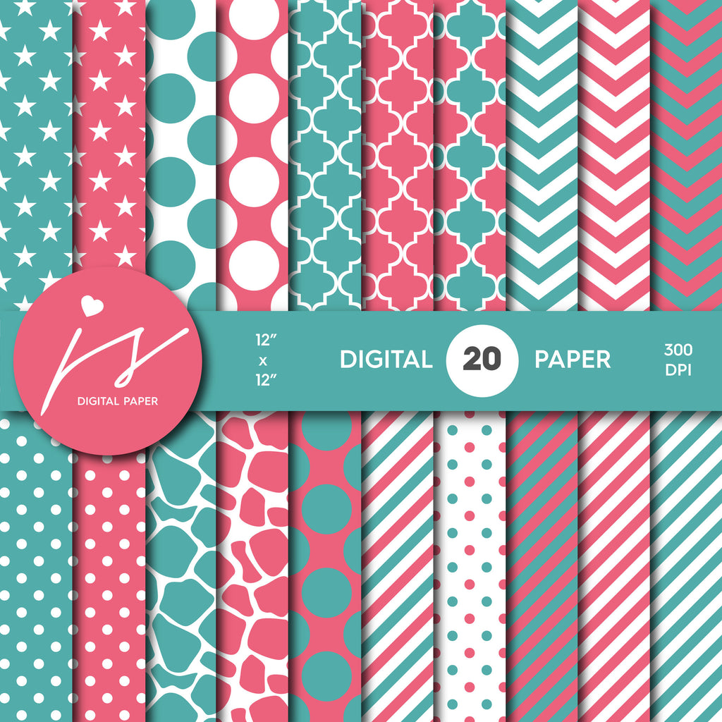 Teal Pink Digital Paper, Teal Scrapbooking, Teal Polka Dots, Teal Stripes, Teal Chevron, Teal Stars, Commercial Use, MI-372A