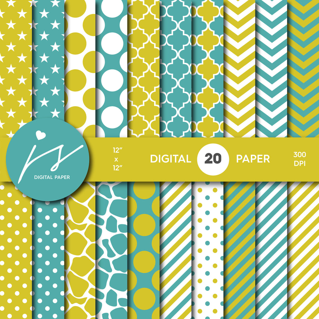Teal Turquoise Green Digital Paper, Teal Scrapbooking, Teal Polka Dots, Teal Stripes, Teal Chevron, Teal Stars, Commercial Use, MI-376A