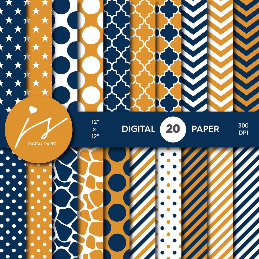 Navy Blue and Orange Digital Paper, Navy Scrapbooking, Navy Polka Dots, Navy Stripes, Navy Chevron, Navy Stars, Commercial Use, MI-395A