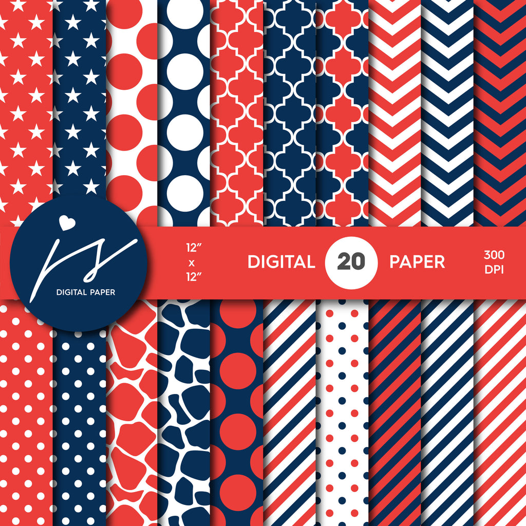 Navy Blue and Red Digital Paper, Navy Scrapbooking, Navy Polka Dots, Navy Stripes, Navy Chevron, Navy Stars, Commercial Use, MI-402A
