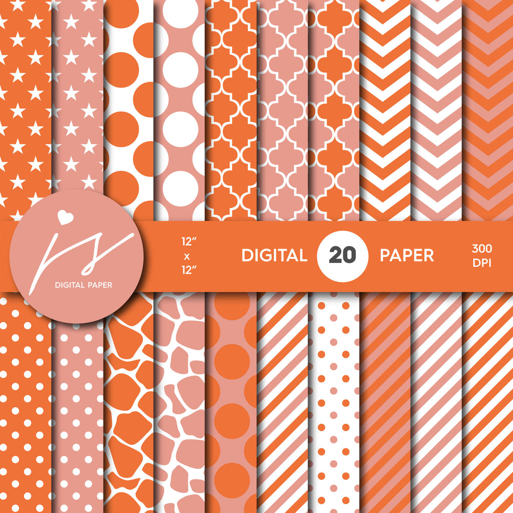 Orange Pink Coral Digital Paper, Coral Scrapbooking, Coral Polka Dots, Coral Stripes, Coral Chevron, Coral Stars, Commercial Use, MI-423A