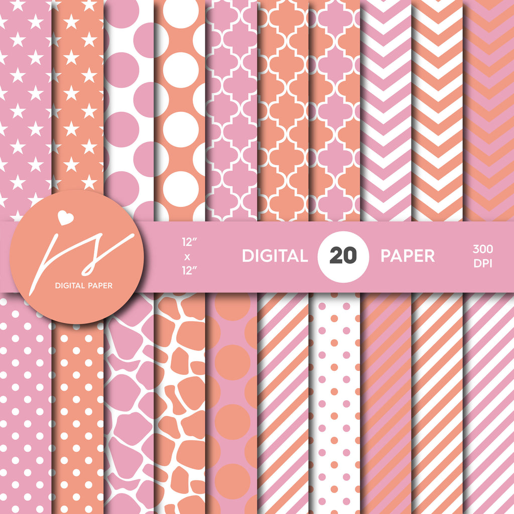 Coral Pink Digital Paper, Coral Scrapbooking, Coral Polka Dots, Coral Stripes, Coral Chevron, Coral Stars, Commercial Use, MI-428A
