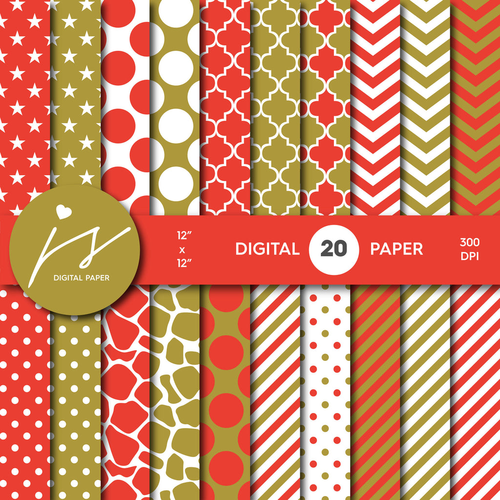 Red and Gold Digital Paper Pack Background, Printable Patterns with Red Gold Polka Dot Stripes Chevron Stars Scrapbooking, MI-430A