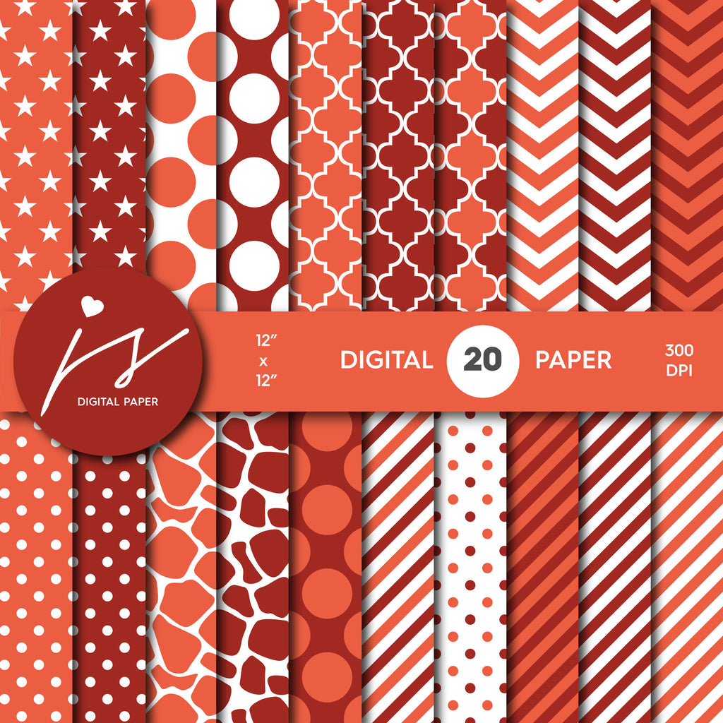 Orange and Red Digital Paper Pack Background, Printable Patterns with Red Orange Polka Dot Stripes Chevron Stars Scrapbooking MI-432A