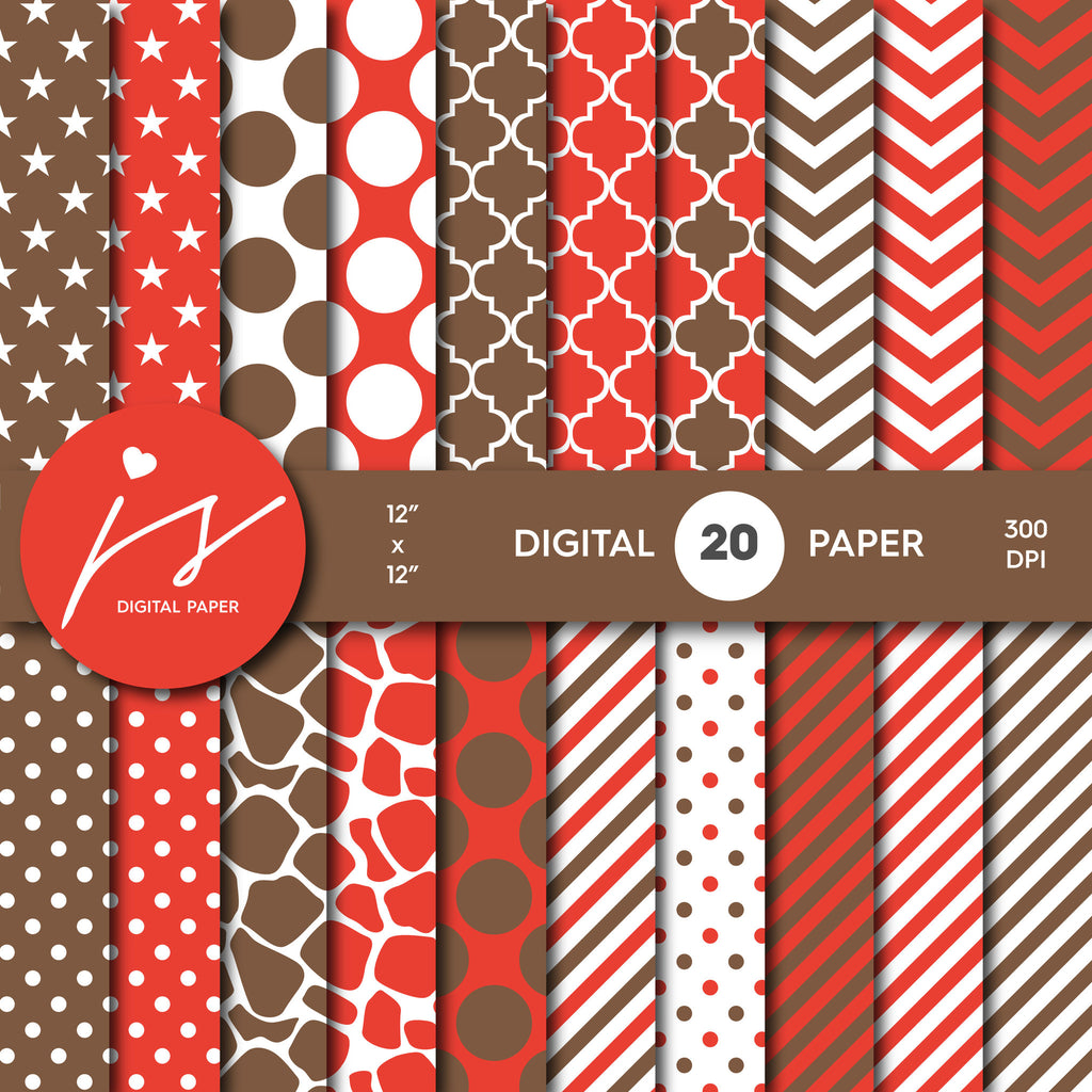 Red and Brown Digital Paper Pack Background, Printable Patterns with Red Brown Polka Dot Stripes Chevron Stars Scrapbooking, MI-435A