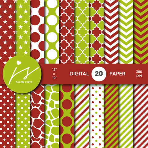 Apple Green and Red Digital Paper Pack Background, Printable Patterns with Red Green Polka Dot Stripes Chevron Stars Scrapbooking, MI-436A