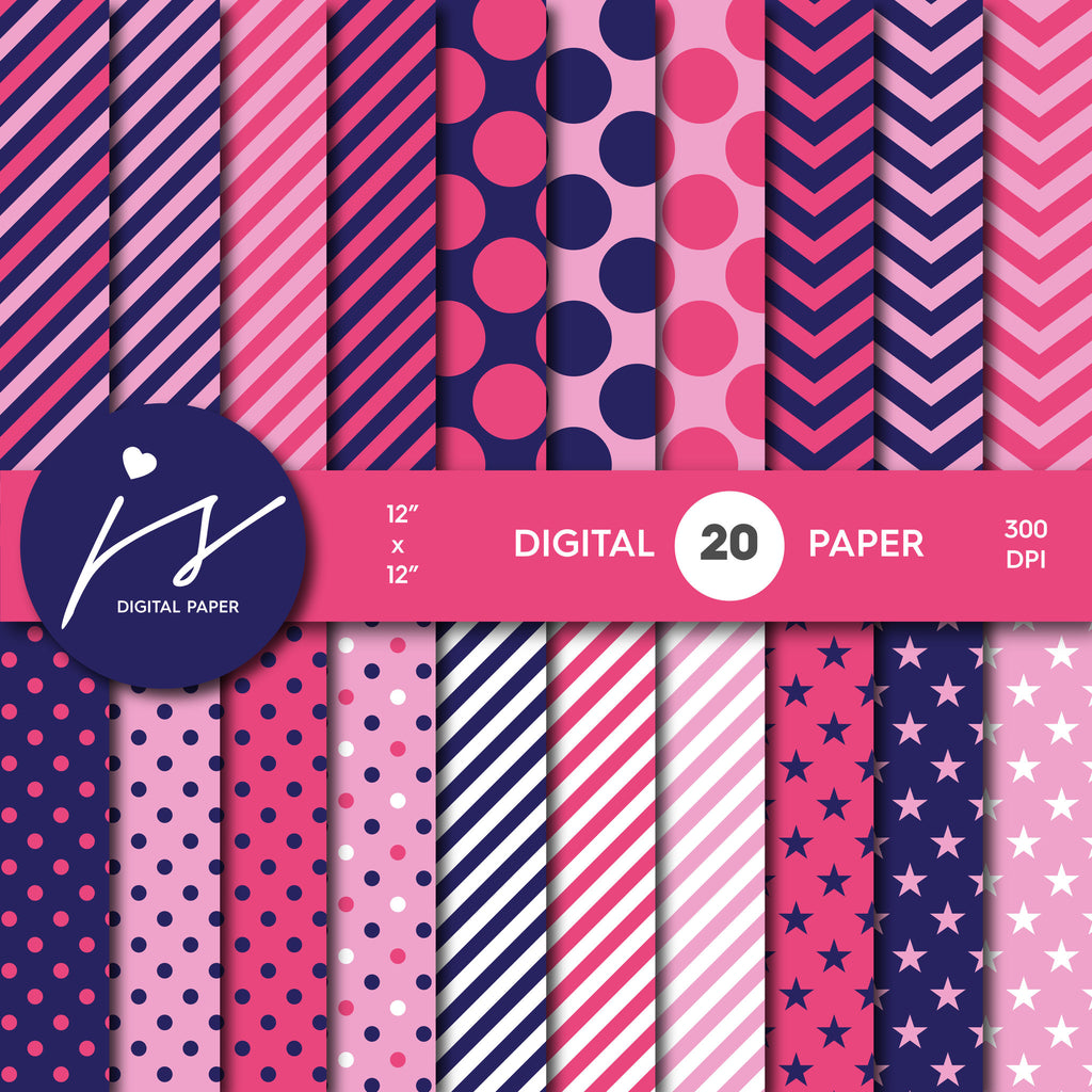 Pink and Navy Blue Digital Paper, Seamless Paper Pattern, Digital Scrapbook with Big and Small Polka Dots Stripes and Chevron, MI-467