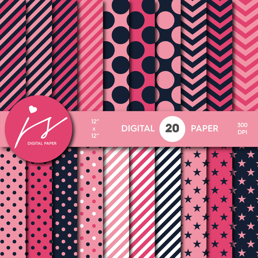 Hot Pink Navy Blue Digital Scrapbook Paper, Seamless Pattern with Big and Small Polka Dots Stripes and Chevron, Paper Bundle Kit, MI-471