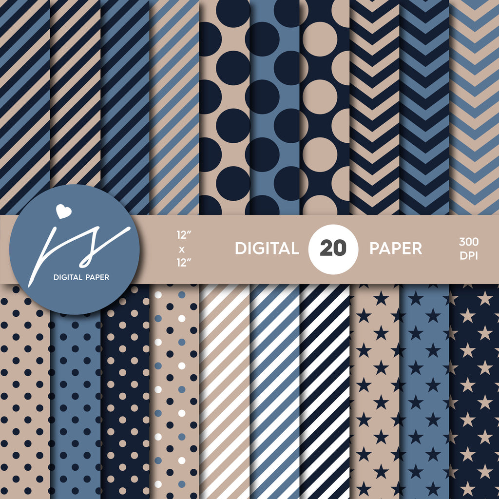 Beige and Navy Blue Digital Scrapbook Paper, Seamless Pattern with Big and Small Polka Dots Stripes and Chevron, Paper Bundle Kit, MI-472