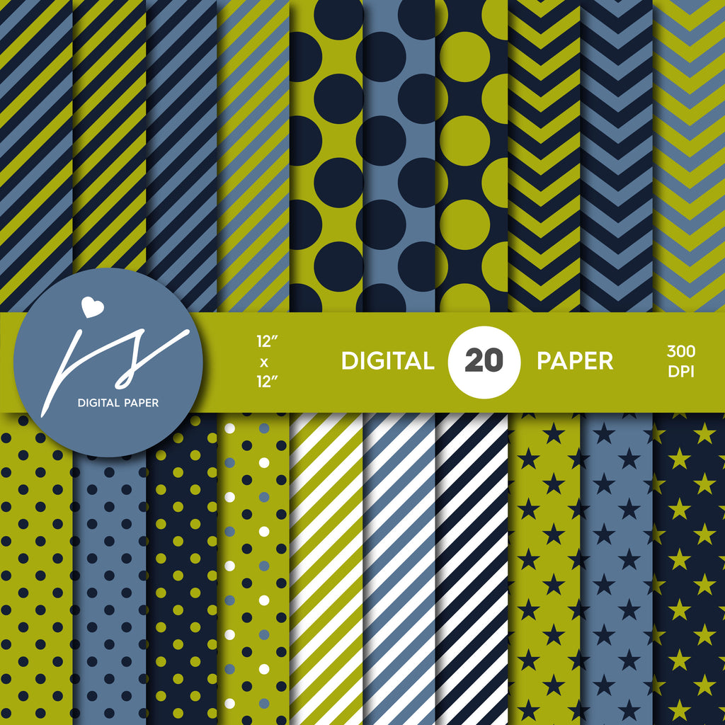 Green and Navy Blue Digital Scrapbook Paper, Seamless Pattern with Big and Small Polka Dots Stripes and Chevron, Paper Bundle Kit, MI-473