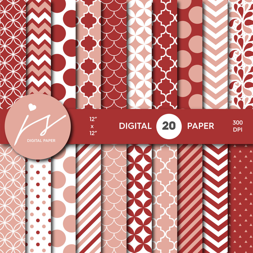 Red and Pink Digital Scrapbook Paper, Printable Paper, Seamless Paper Pattern Bundle Sale, Paper Pack Kit, Commercial Use, MI-485