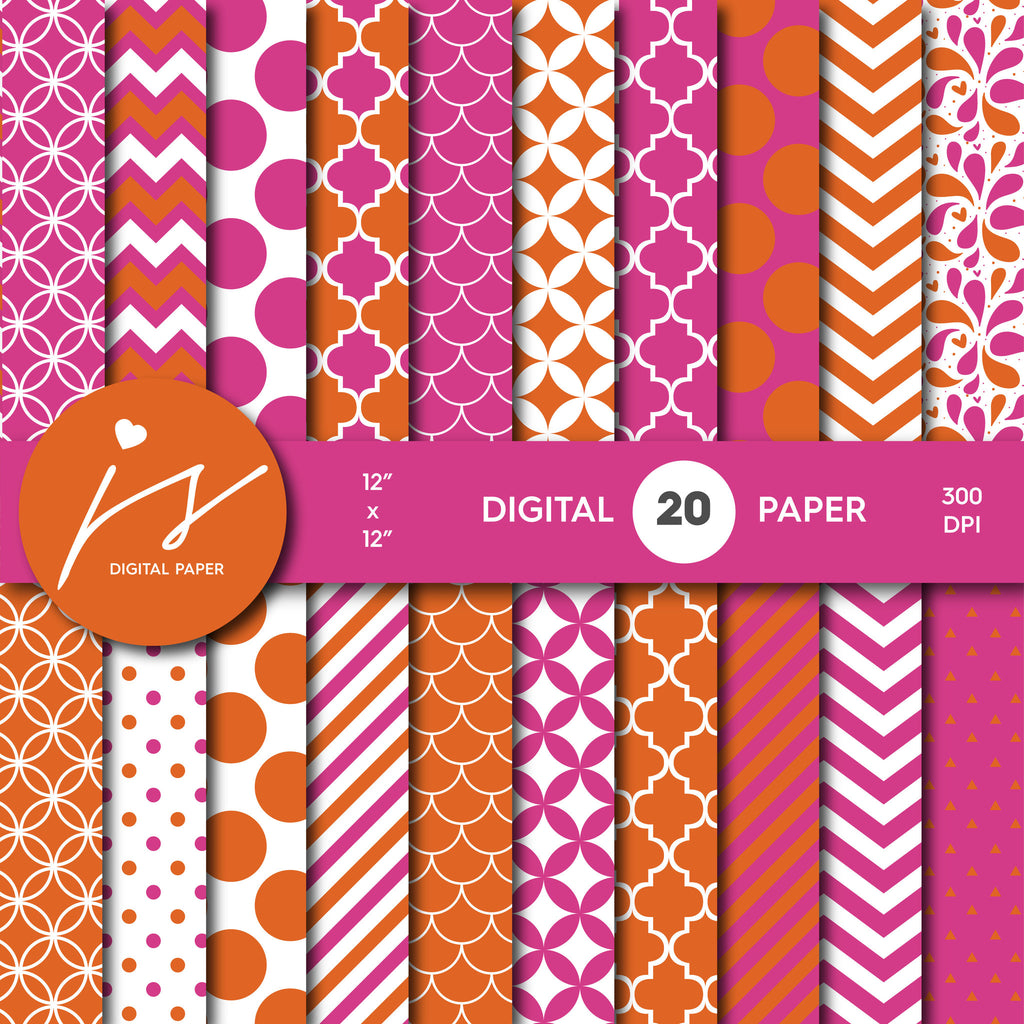 Pink and Orange Digital Scrapbook Paper, Printable Paper, Seamless Paper Pattern Bundle Sale, Paper Pack Kit, Commercial Use, MI-488