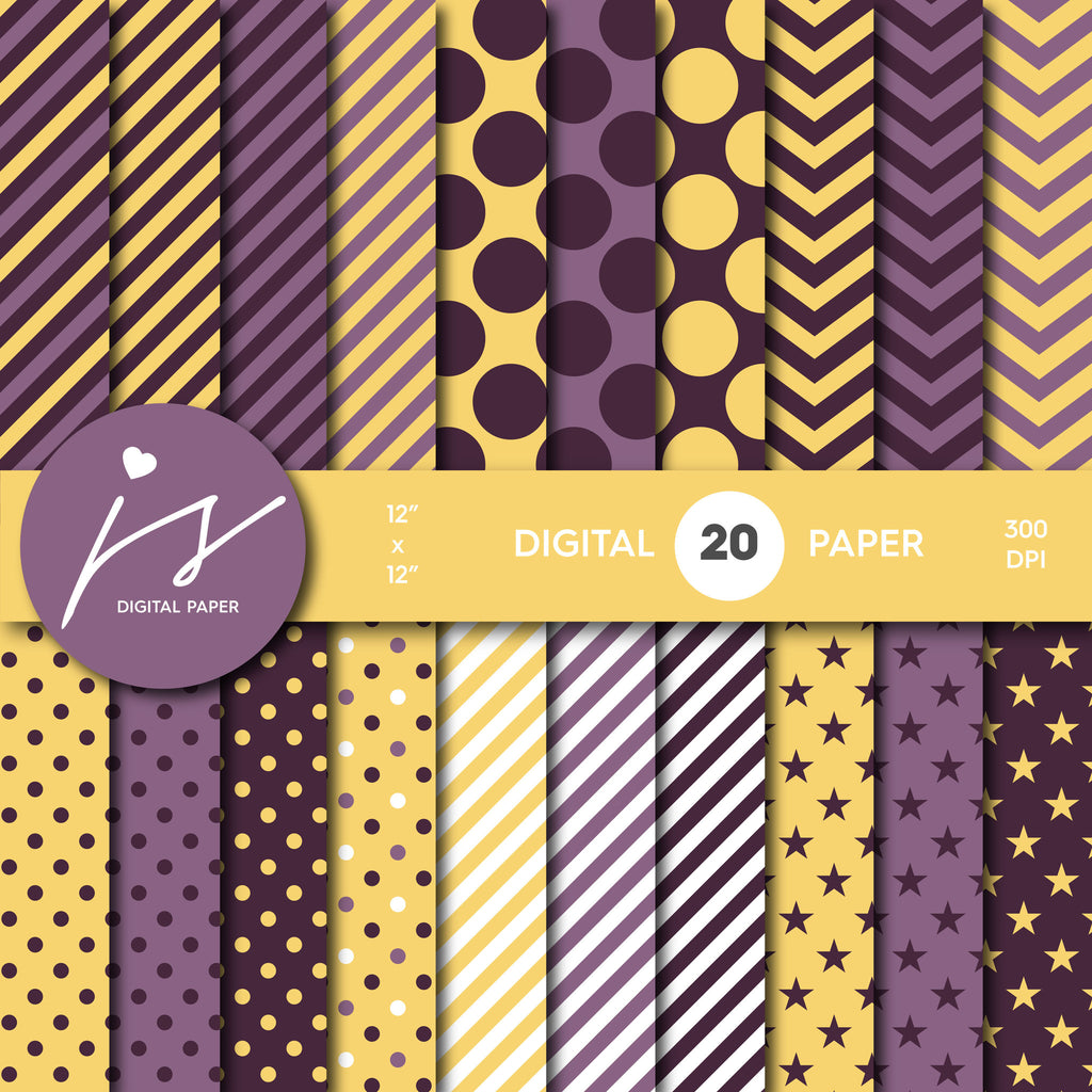Yellow And Purple Digital Scrapbook Paper Printable Paper Seamless