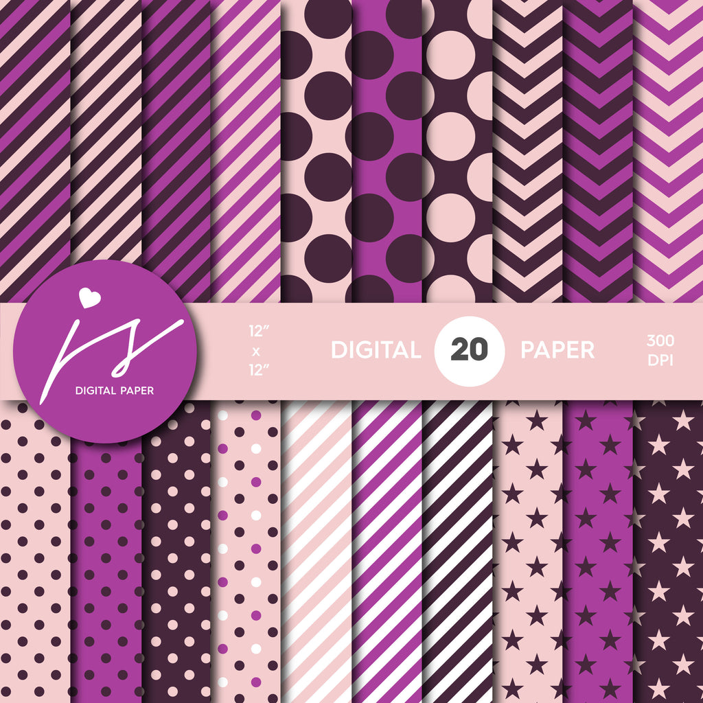 Pink and Purple Digital Scrapbook Paper, Printable Paper, Seamless Paper Pattern Bundle Sale, Paper Pack Kit, Commercial Use, MI-495