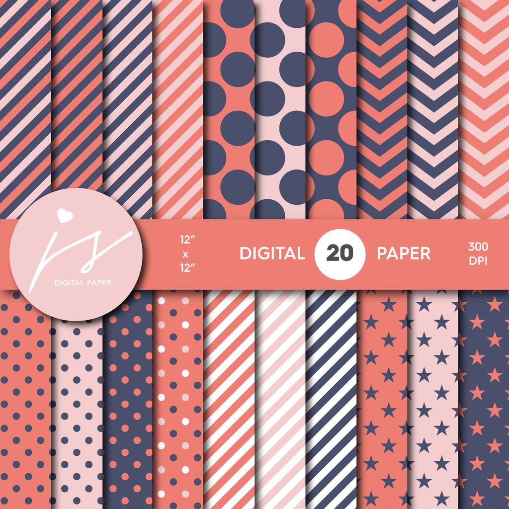Pink and Coral Digital Scrapbook Paper, Printable Paper, Seamless Paper Pattern Bundle Sale, Paper Pack Kit, Commercial Use, MI-497
