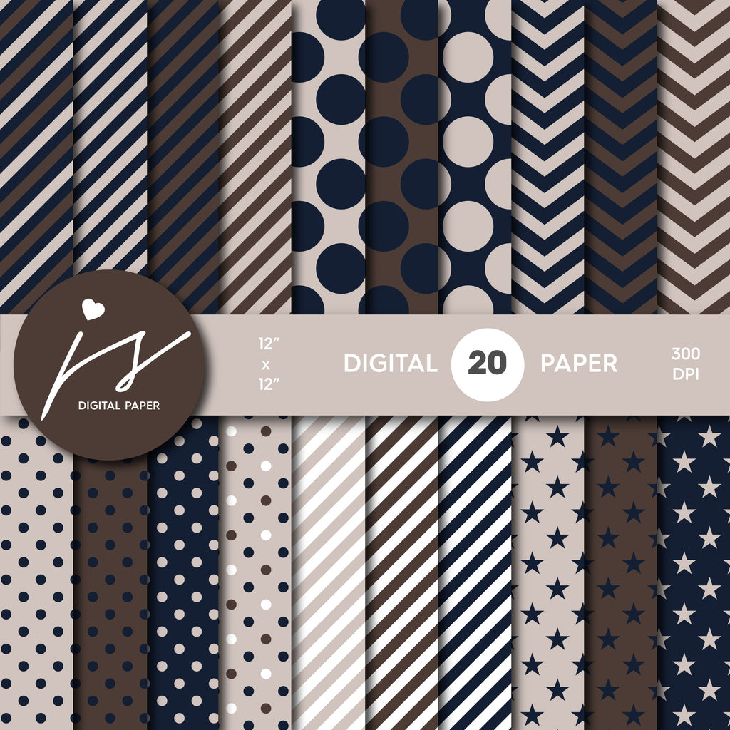 Navy Blue and Beige Digital Scrapbook Paper, Printable Paper, Seamless Paper Pattern Bundle Sale, Paper Pack Kit, Commercial Use, MI-498
