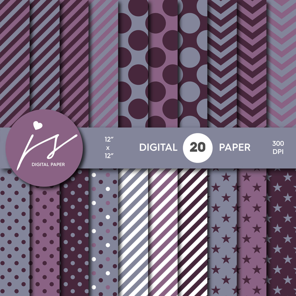 Purple and Burgundy Digital Scrapbook Paper, Printable Paper, Seamless Paper Pattern Bundle Sale, Paper Pack Kit, Commercial Use, MI-501