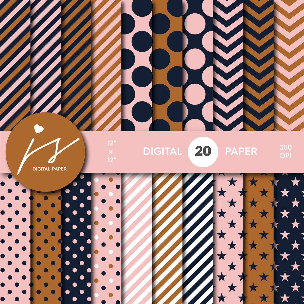 Brown and Pink Digital Scrapbook Paper, Printable Paper, Seamless Paper Pattern Bundle Sale, Paper Pack Kit, Commercial Use, MI-507