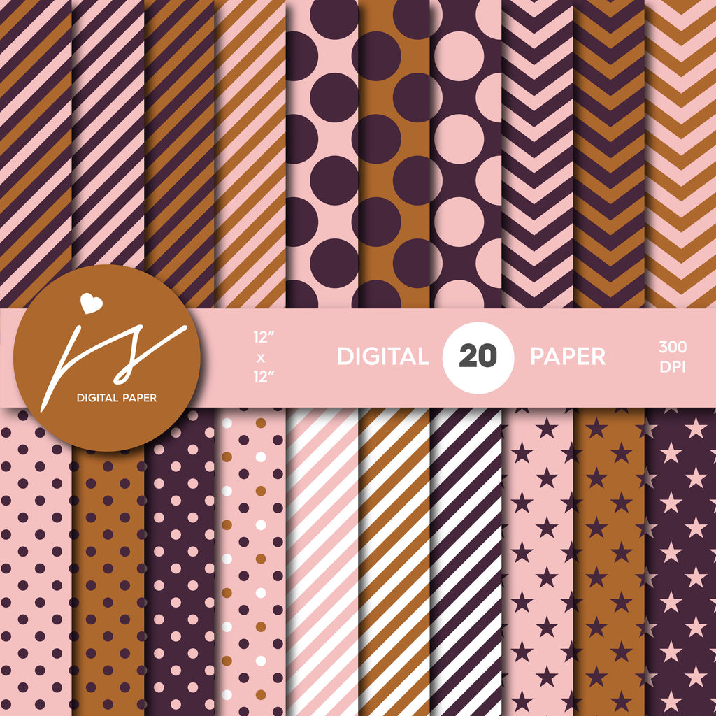 Purple Brown and Pink Digital Scrapbook Paper, Printable Paper, Seamless Paper Pattern Bundle Sale, Paper Pack Kit, Commercial Use, MI-508
