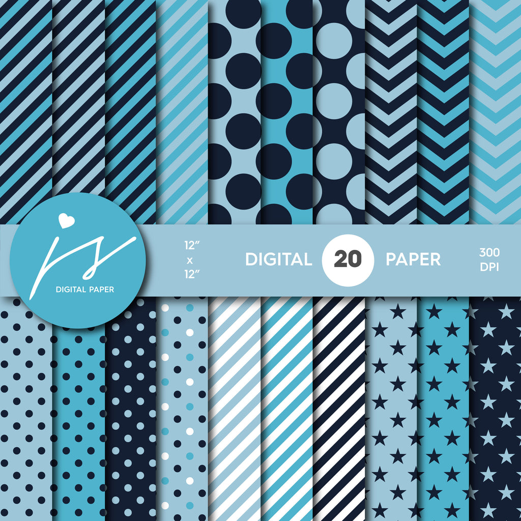 Blue digital paper, Blue scrapbooking paper, Digital paper pack, Blue scrapbook paper, Blue printable pattern, digiscrapping, MI-509