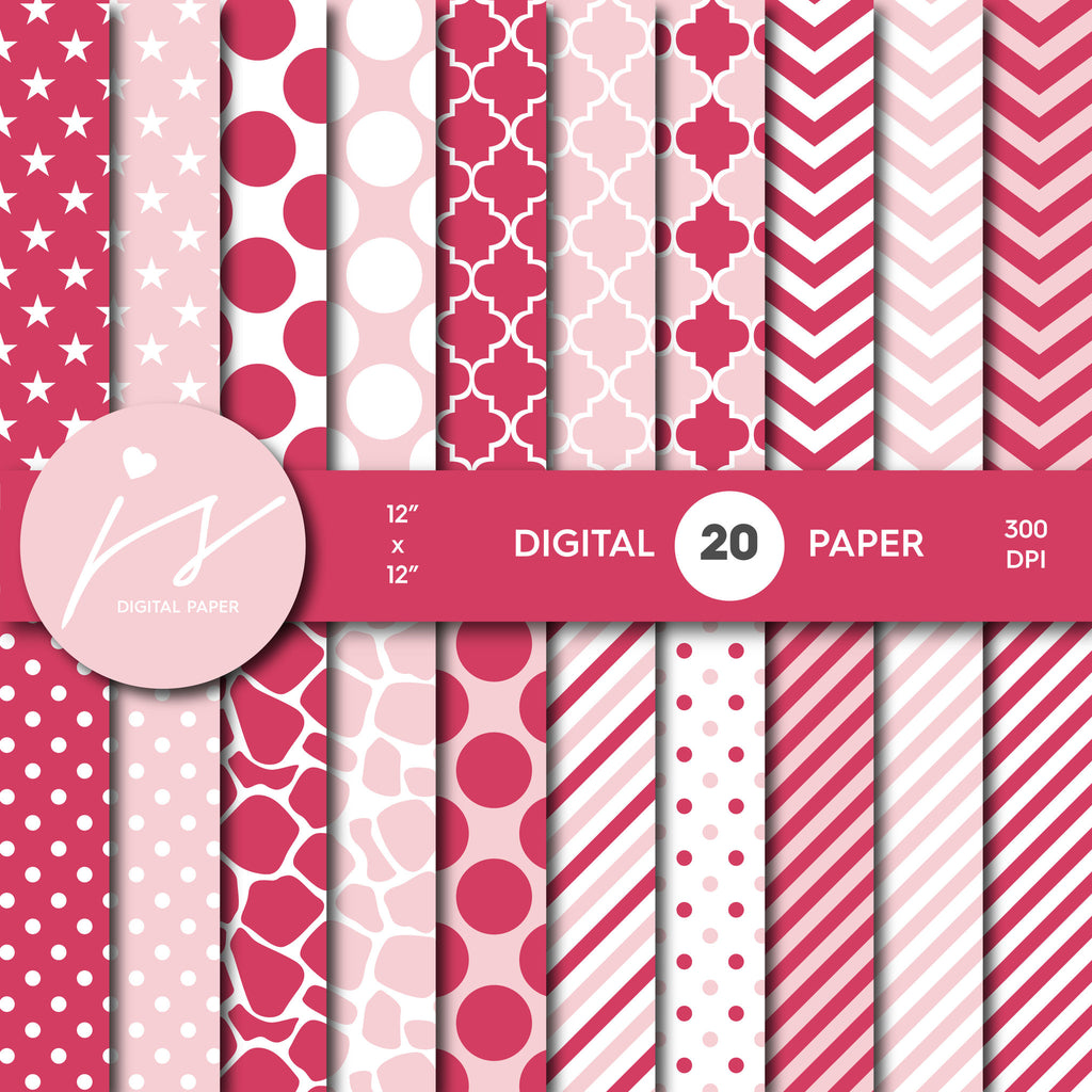 Rouge pink digital scrapbooking paper with safari pattern, stripes, stars, polka dots and chevron, MI-512