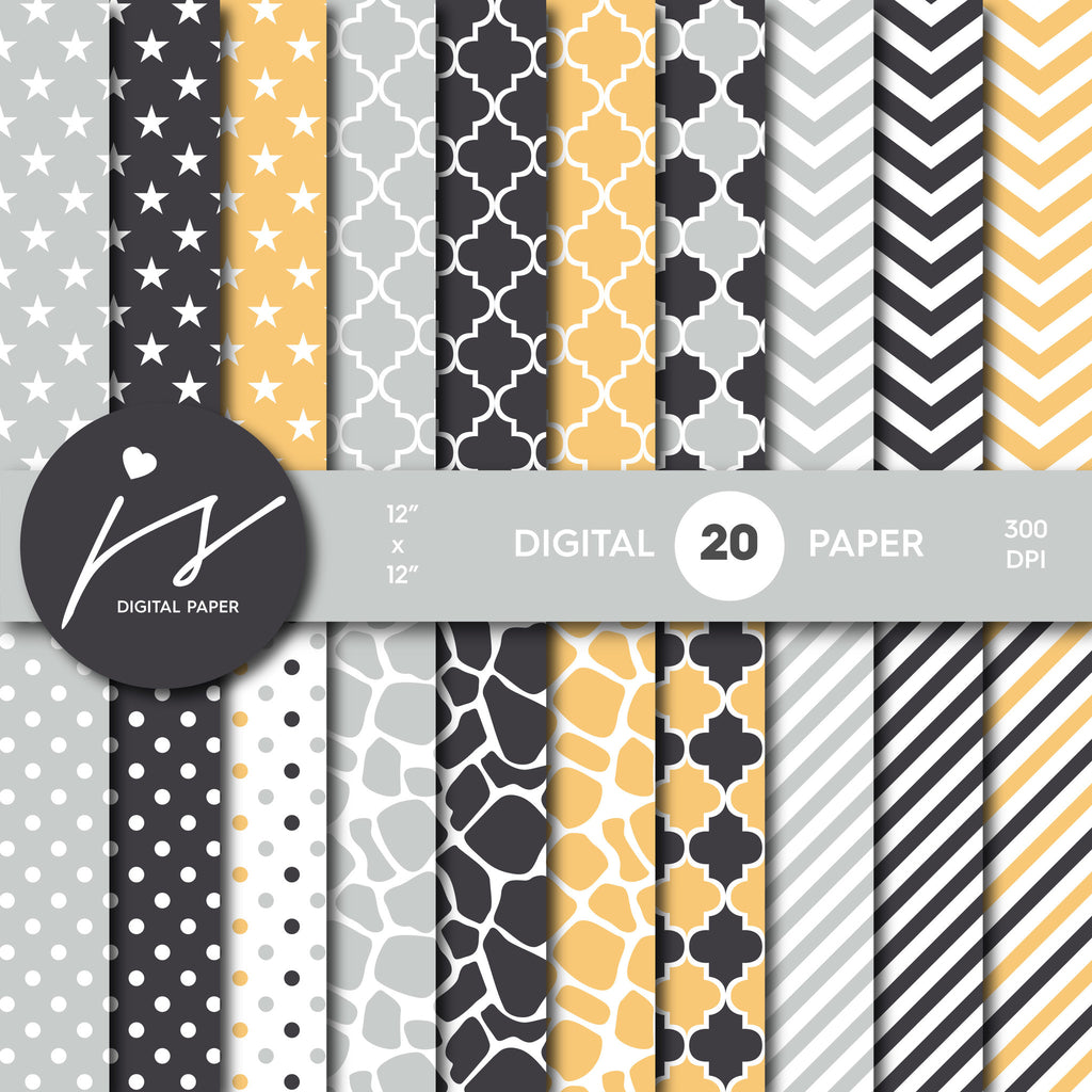 Grey and yellow digital scrapbooking paper with safari pattern, stripes, stars, polka dots and chevron, MI-527