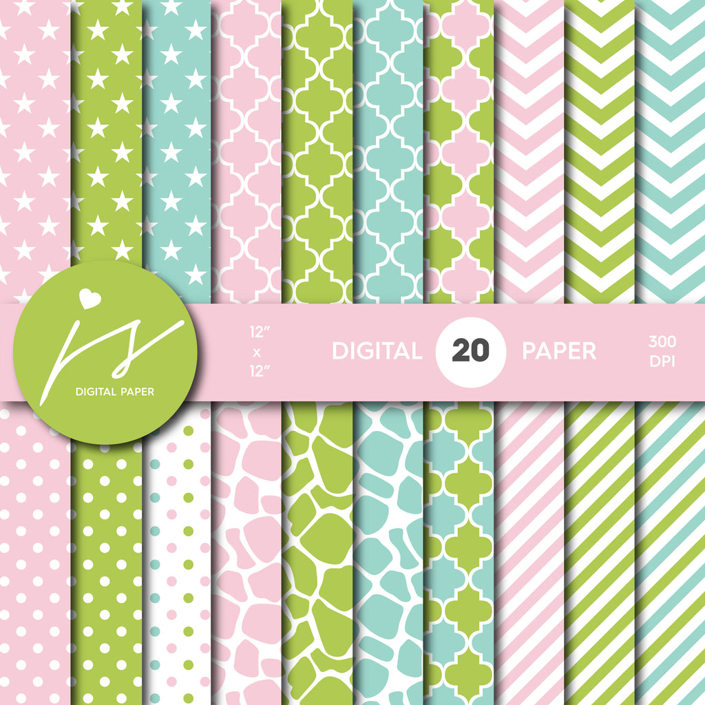 Green, pink and turquoise digital scrapbooking paper with safari pattern, stripes, stars, polka dots and chevron, MI-528