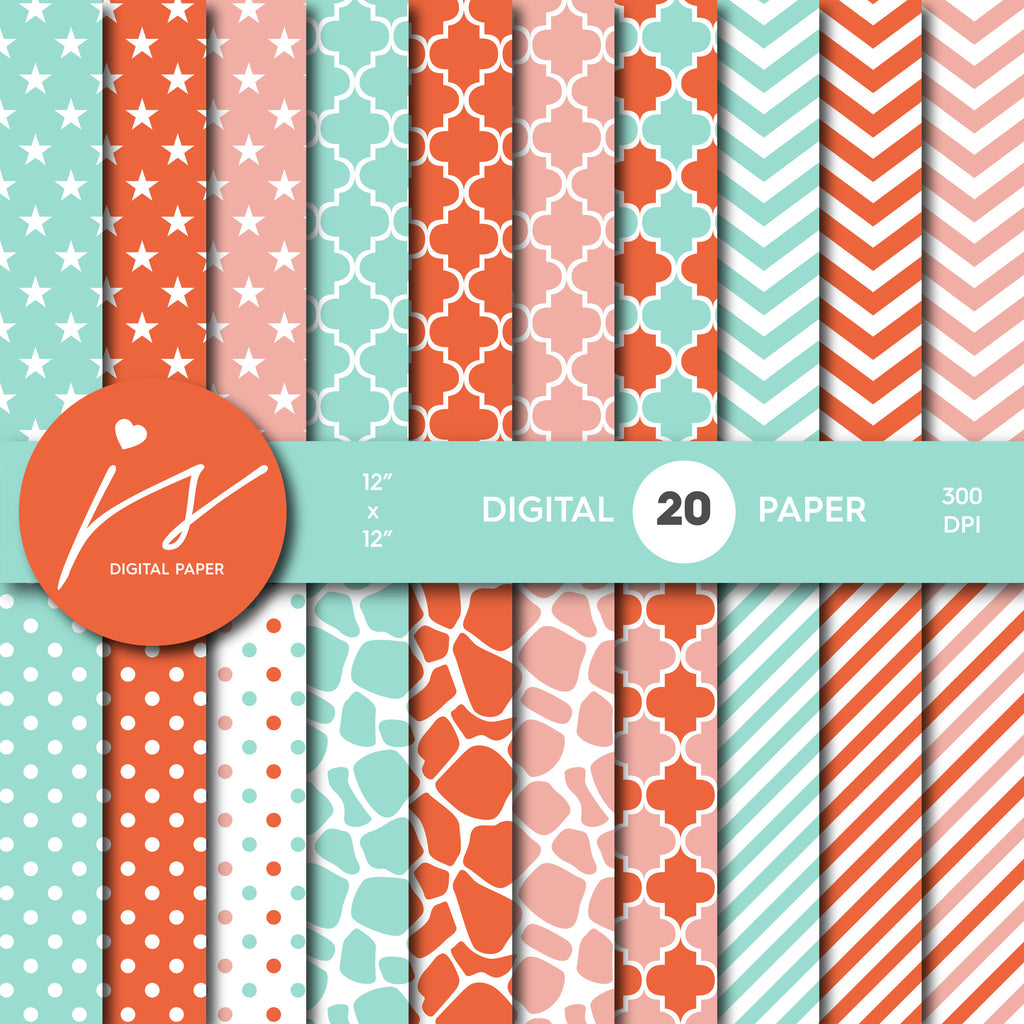 Mint, orange and pink digital scrapbooking paper with safari pattern, stripes, stars, polka dots and chevron, MI-534