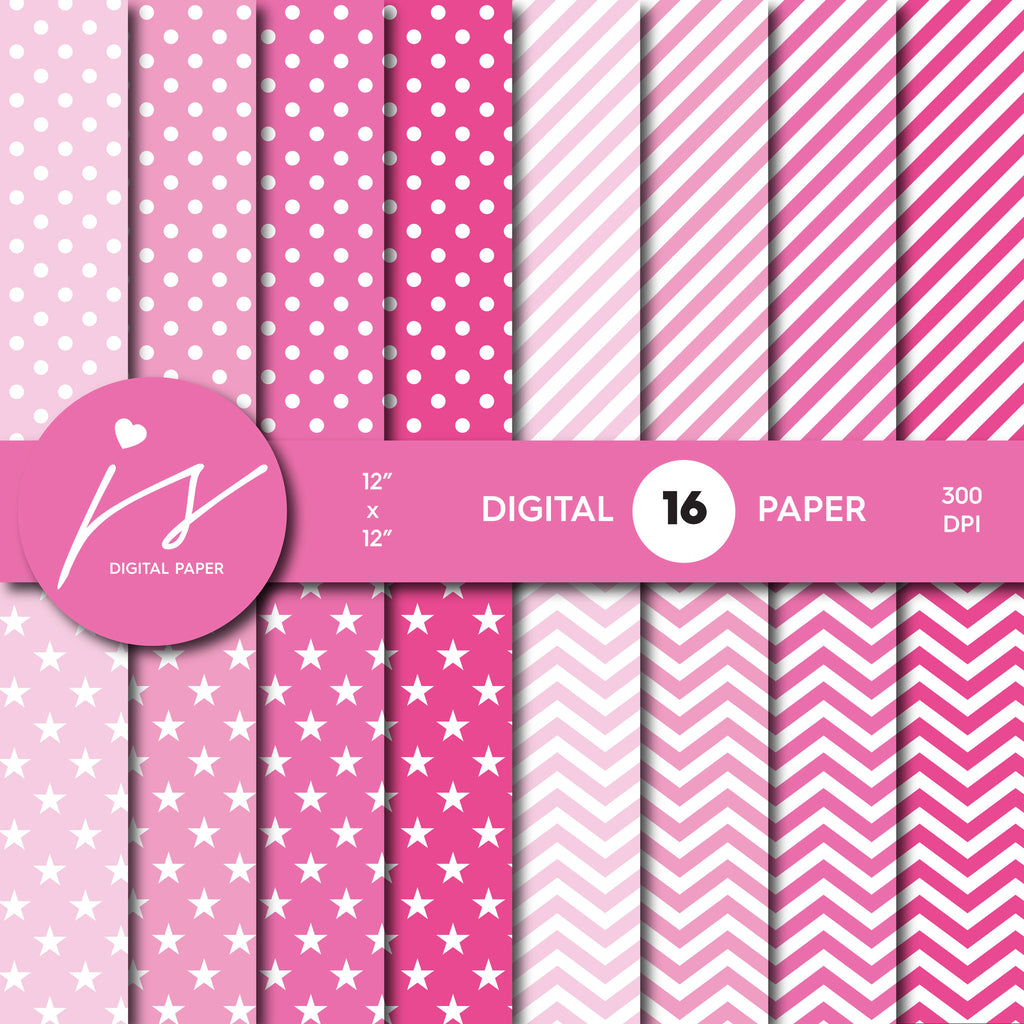 Hot pink digital scrapbooking paper with stripes, stars, polka dots and chevron, MI-538