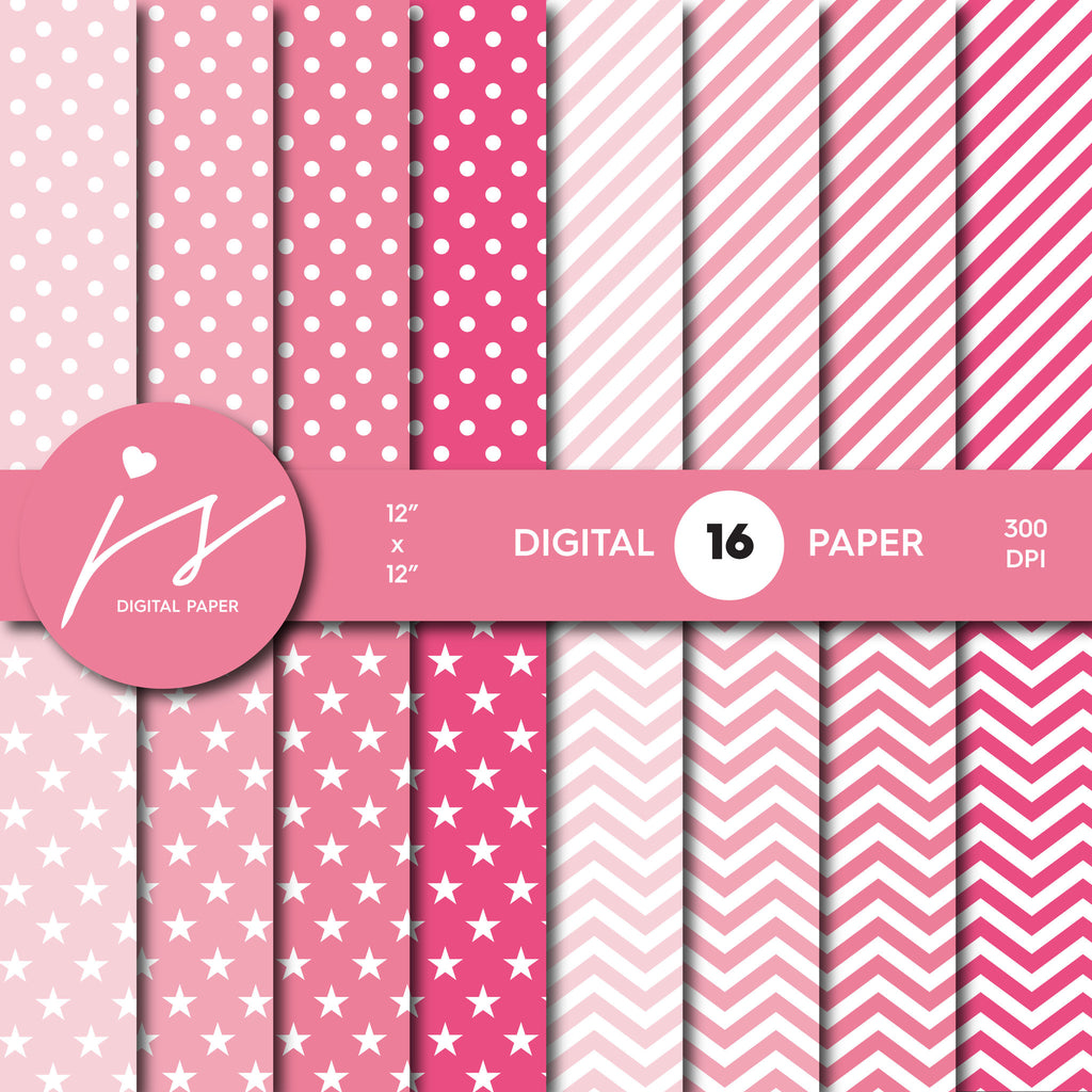 Pink digital scrapbooking paper with stripes, stars, polka dots and chevron, MI-539