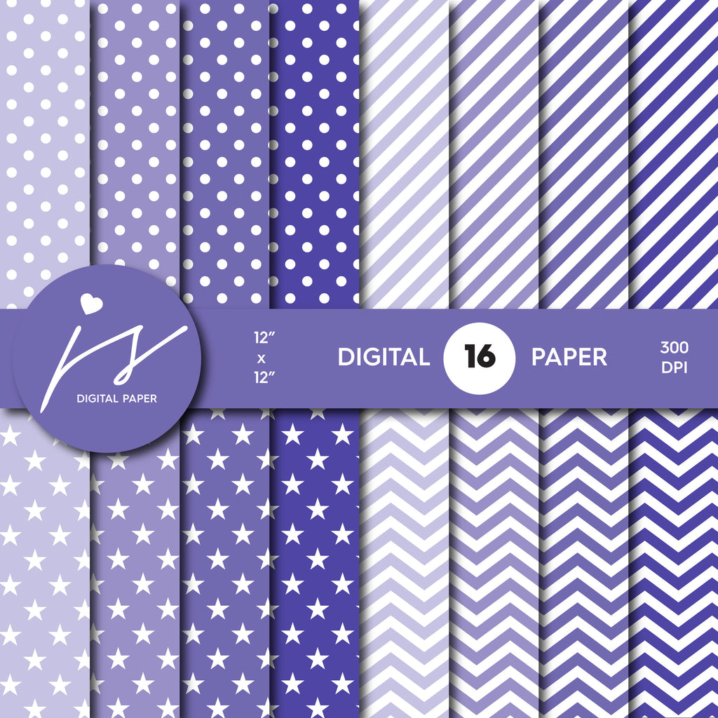 Grape purple digital scrapbooking paper with stripes, stars, polka dots and chevron, MI-542