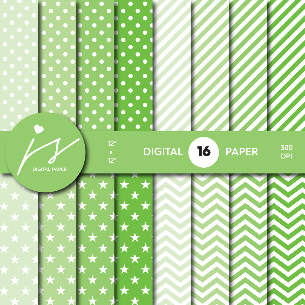 Green digital scrapbooking paper with stripes, stars, polka dots and chevron, MI-551