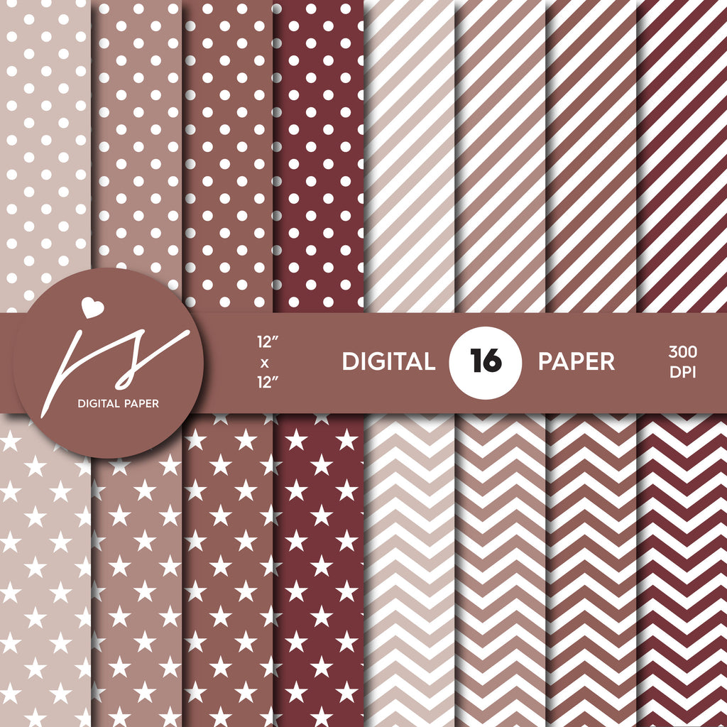 Latte brown digital scrapbooking paper with stripes, stars, polka dots and chevron, MI-556