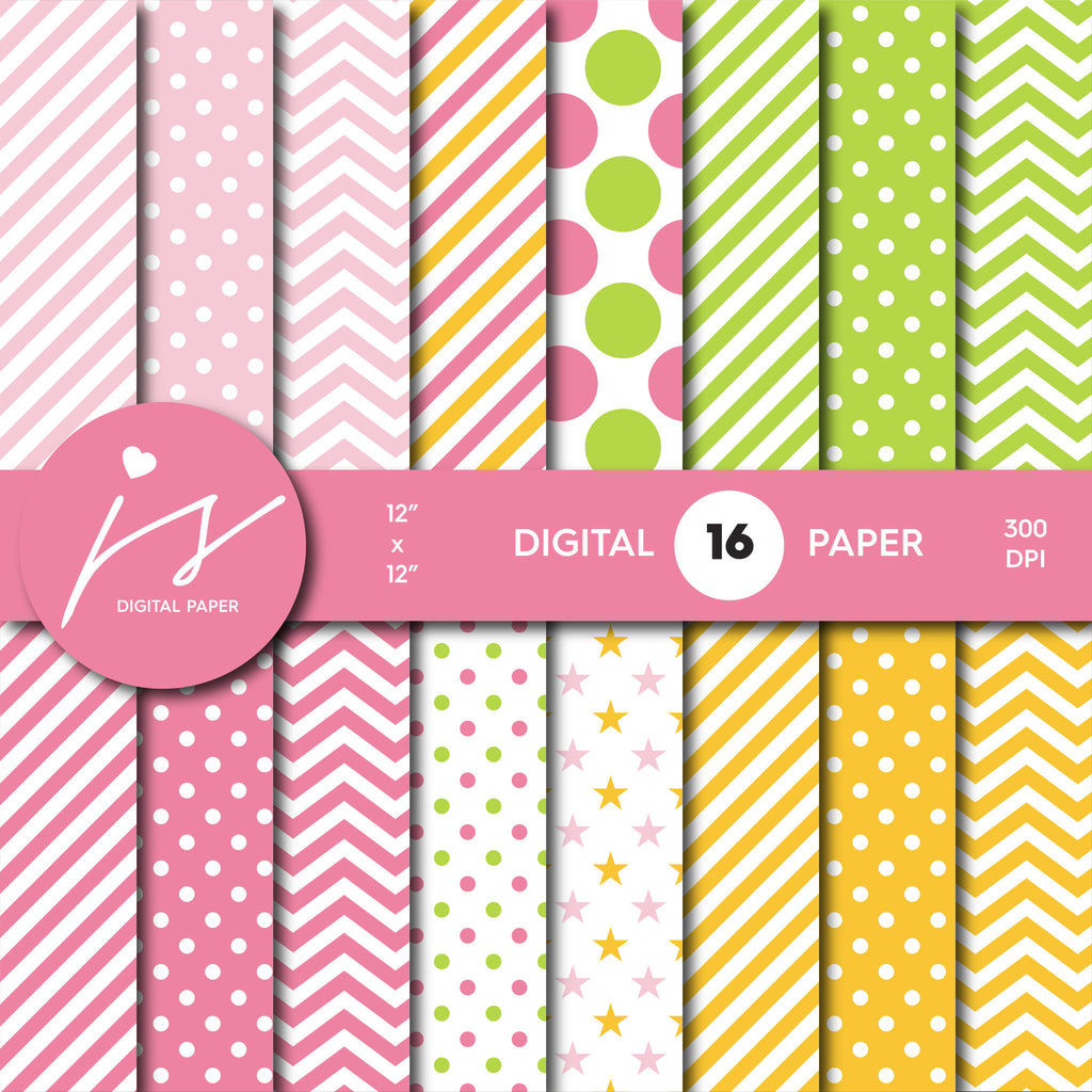 Pink, green and yellow digital paper, MI-558