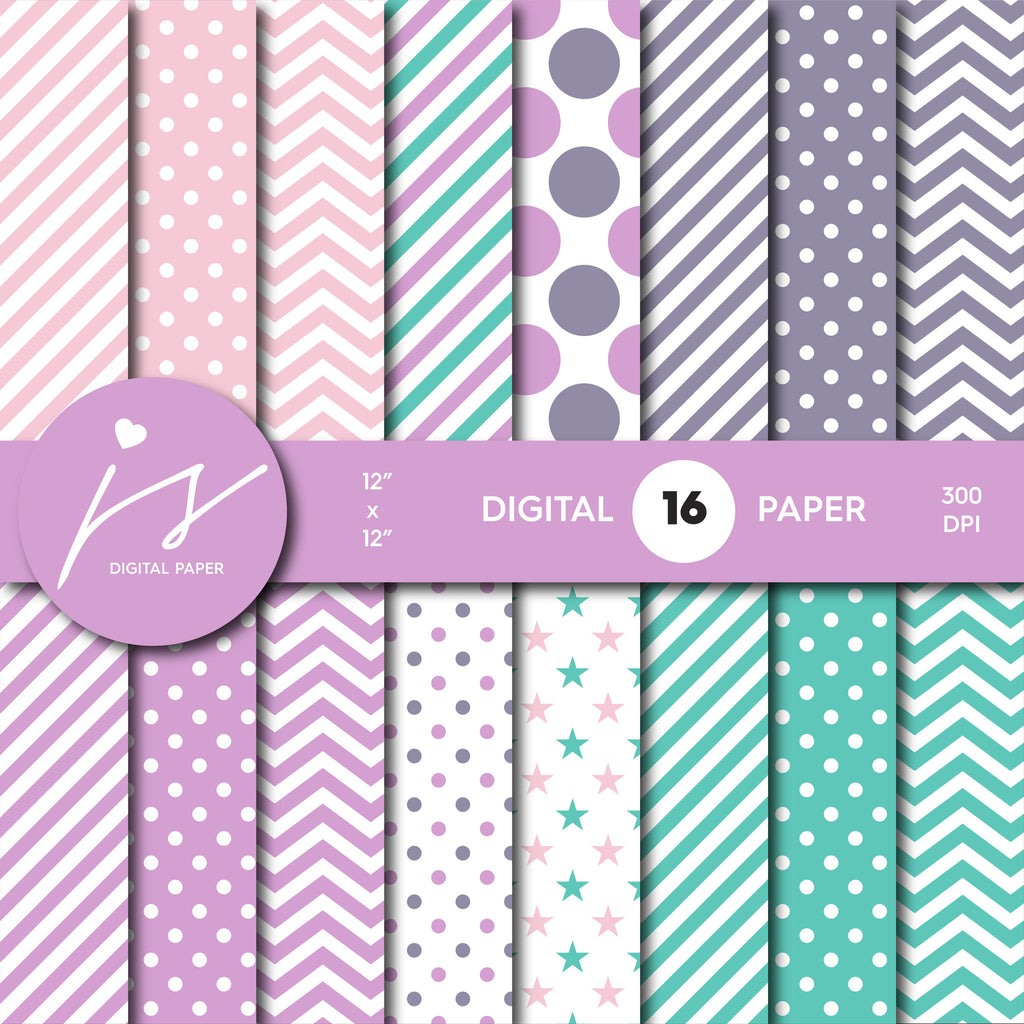 Turquoise scrapbooking paper, Purple and pink digital paper, MI-563