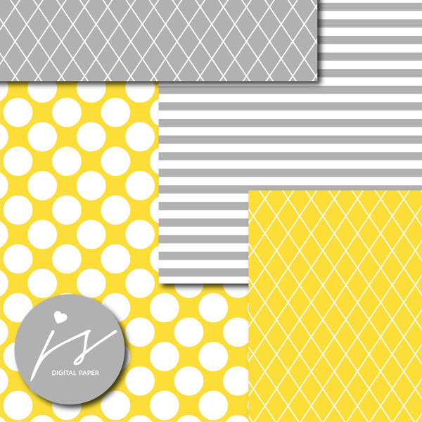 Yellow and grey digital scrapbooking paper, MI-593