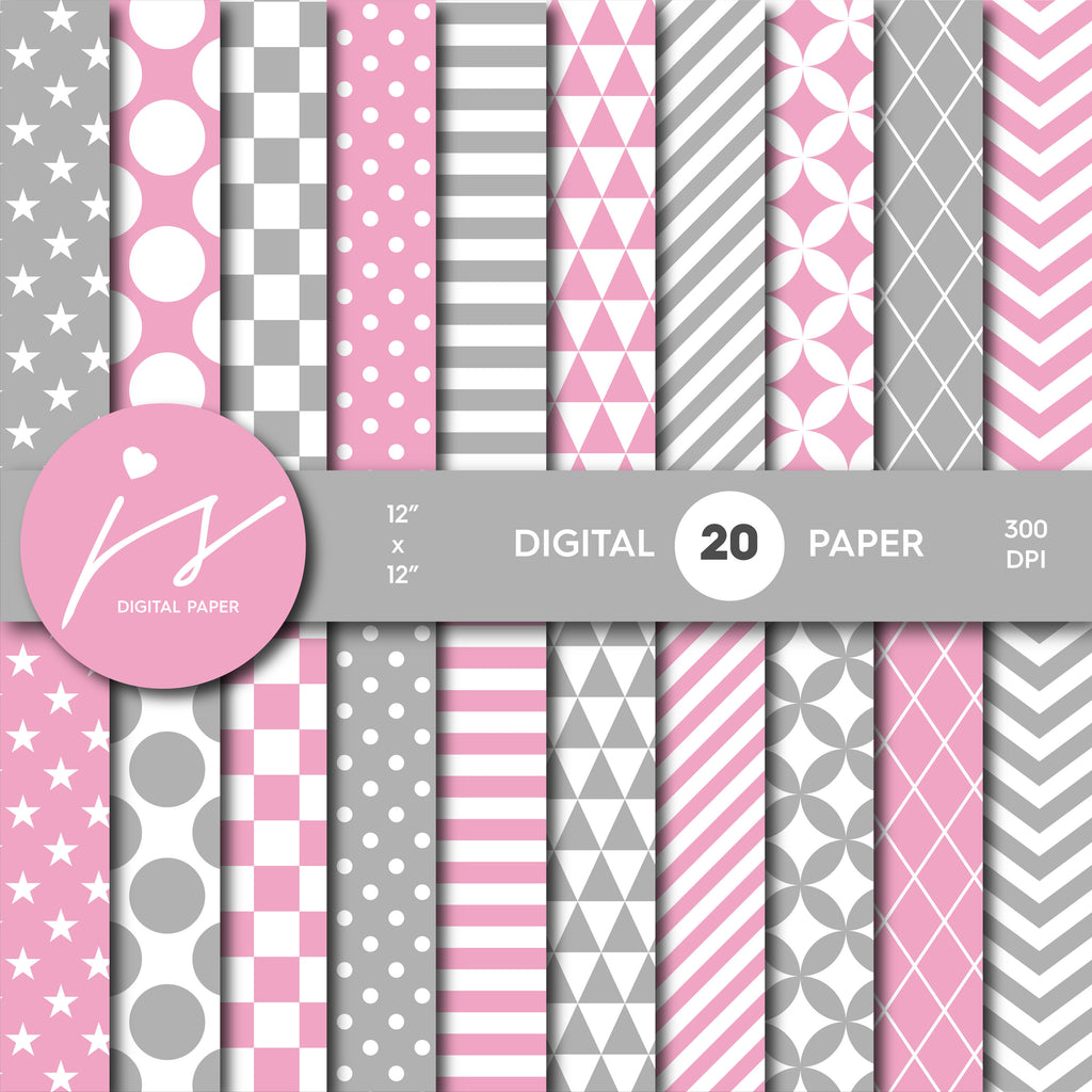 Pink And Grey Digital Scrapbooking Paper Mi 605 Js Digital Paper