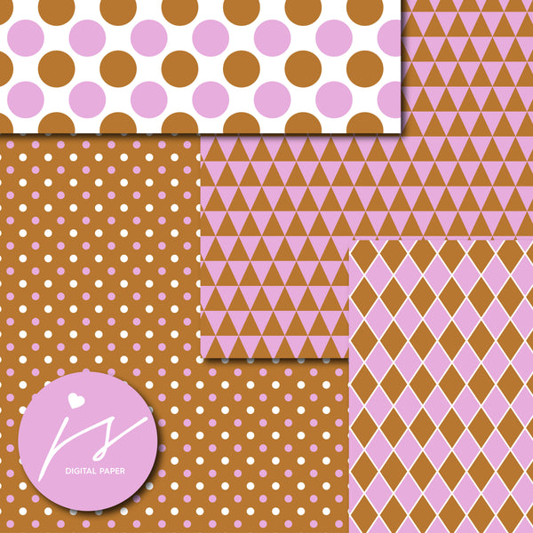 Pink and brown digital scrapbooking paper, MI-611