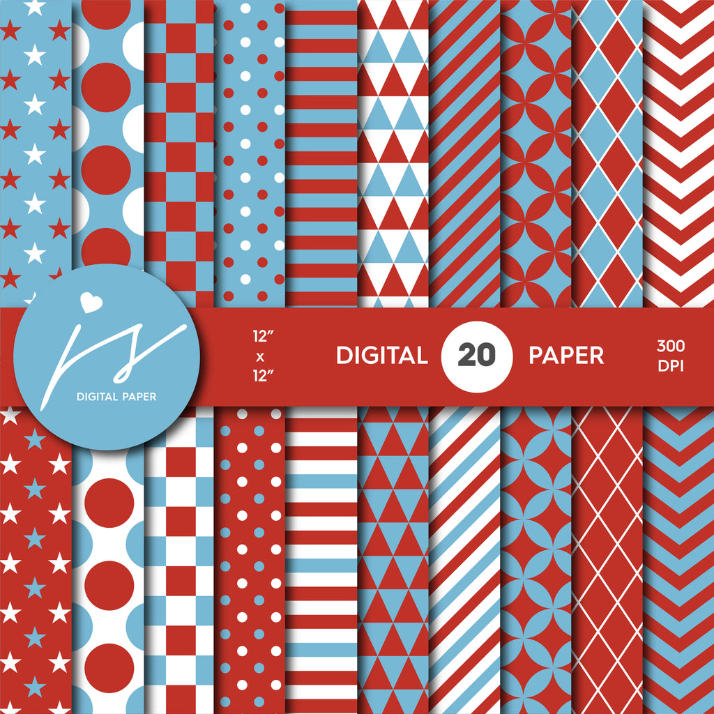 Dark red and blue digital scrapbooking paper, MI-623