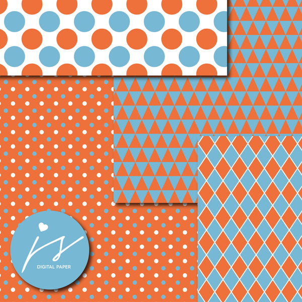 Blue and orange digital scrapbooking paper, MI-624