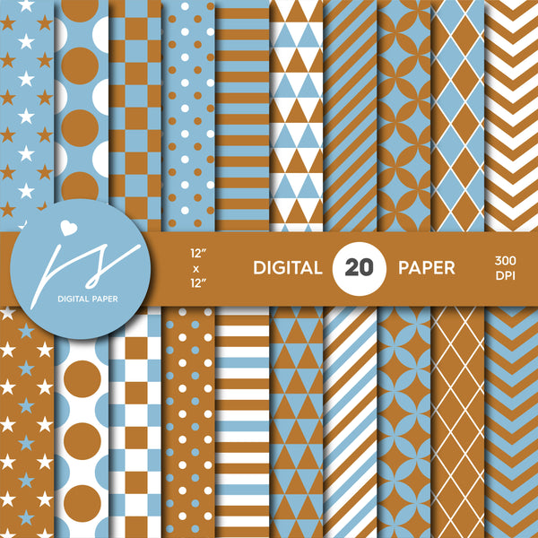 Blue and brown digital scrapbooking paper, MI-627