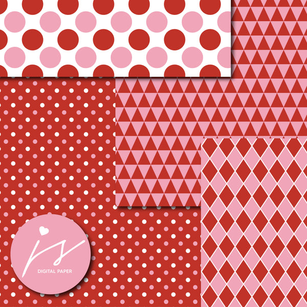 Red and pink digital scrapbooking paper, MI-628