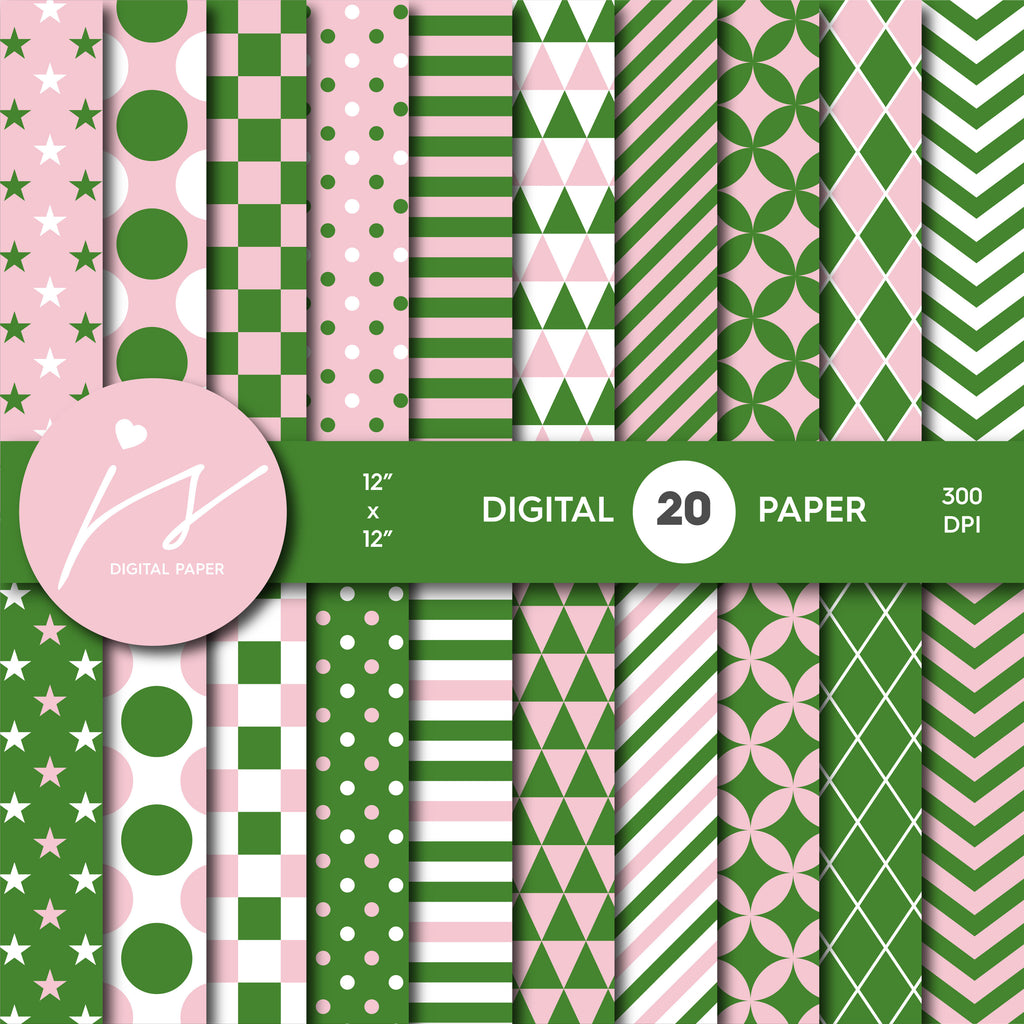Pink and grass green digital scrapbooking paper, MI-635