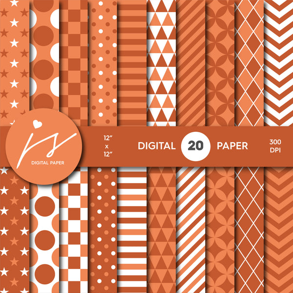 Orange copper digital scrapbooking paper, MI-644