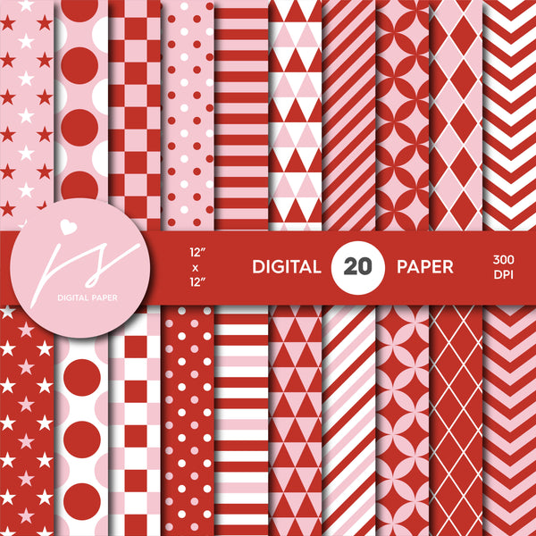 Red and cotton candy pink digital scrapbooking paper, MI-645