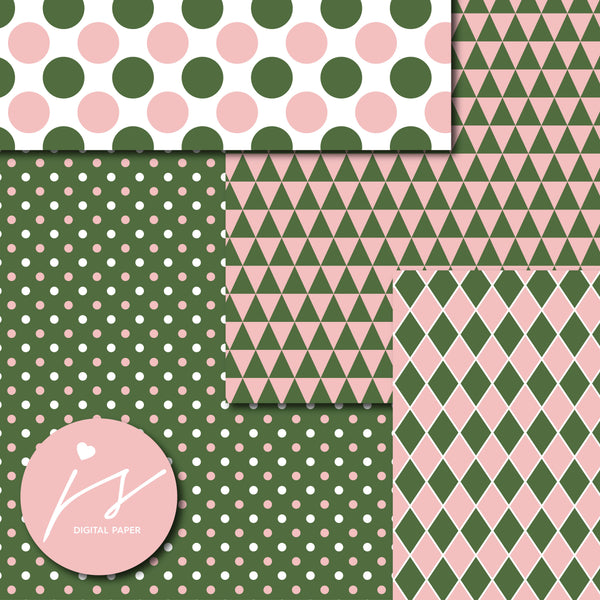 Pink and army green digital scrapbooking paper, MI-661