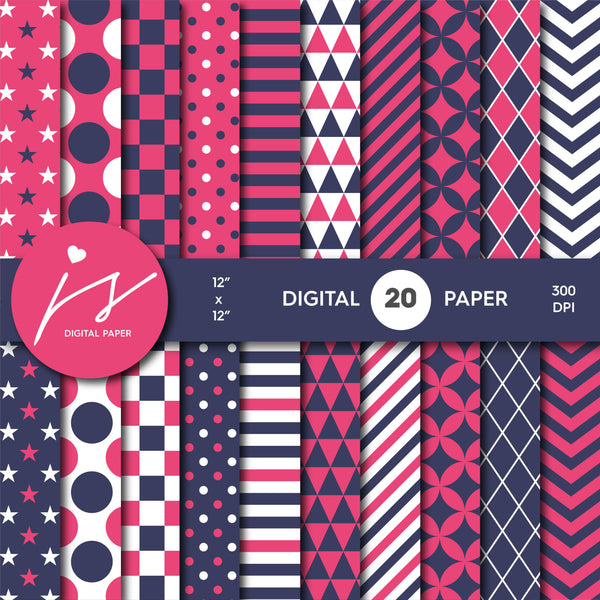 Hot pink and dark purple digital scrapbooking paper, MI-663